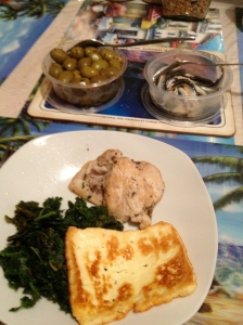 One of my mum's easy peasey meals. Grilled chicken with haloumi and pan fried kale. Chilli olives and vinegary fresh white anchovies to snack on. YUM!