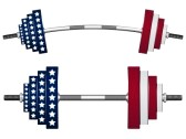dumbells, weights, usa flag